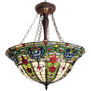 Tiffany-style Victorian Bronze Finish Hanging Lamp