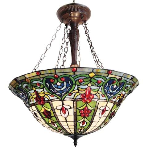Tiffany-style Victorian Bronze Finish Hanging Lamp