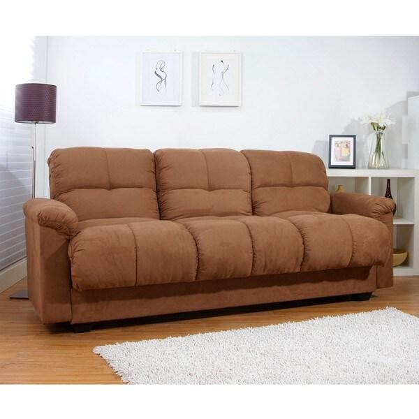 Multifunctional Microsuede Mocha Storage Sleeper Sofa Bed