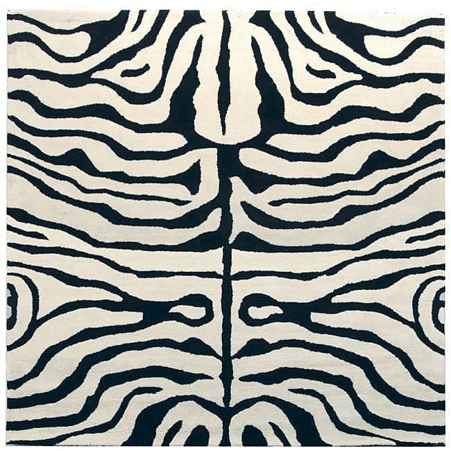 Safavieh Handmade Soho Zebra Ivory/ Black New Zealand Wool Rug - 6' x 6' Square