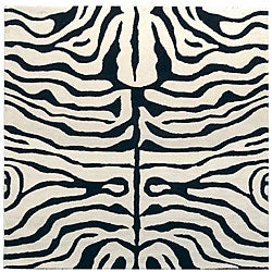 Safavieh Handmade Soho Zebra Ivory/ Black New Zealand Wool Rug - 6' x 6' Square - Thumbnail 0