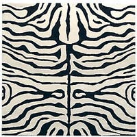 Safavieh Handmade Soho Zebra Ivory/ Black New Zealand Wool Rug - 6' x 6' Square