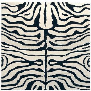 Safavieh Handmade Soho Zebra Ivory/ Black New Zealand Wool Rug (8' x 8')