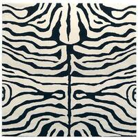 Safavieh Handmade Soho Zebra Ivory/ Black New Zealand Wool Rug - 8' x 8' Square