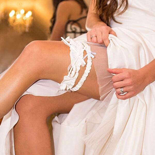 Embroidered 'I Do' Ivory Crystal Wedding Garter