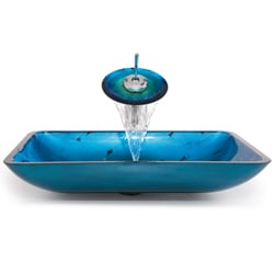 KRAUS Irruption Rectangular Glass Vessel Sink in Blue with Waterfall Faucet in Chrome