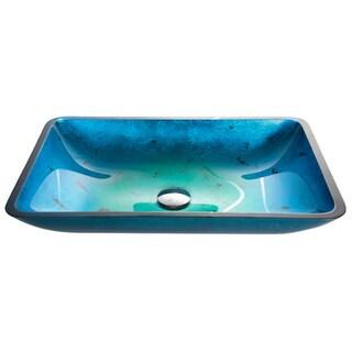 KRAUS Irruption Rectangular Glass Vessel Sink in Blue with Pop-Up Drain in Satin Nickel