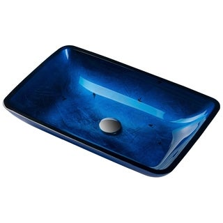 KRAUS Irruption Rectangular Glass Vessel Sink in Blue with Pop-Up Drain in Satin Nickel