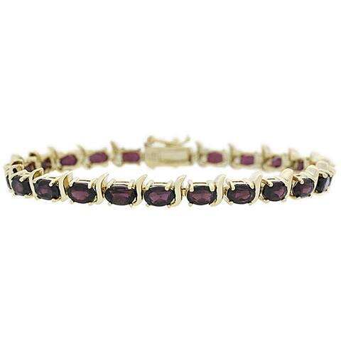 Glitzy Rocks 18k Gold over Sterling Silver Garnet Link Bracelet