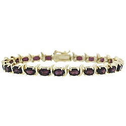 Glitzy Rocks 18k Gold over Sterling Silver Garnet Link Bracelet