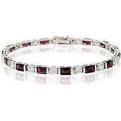 Glitzy Rocks Sterling Silver Garnet and CZ Bracelet