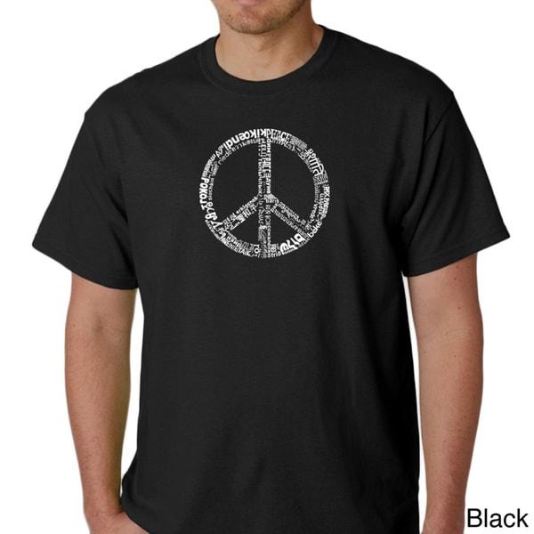 Los Angeles Pop Art Men's 77-language Peace Symbol T-Shirt. Opens flyout.