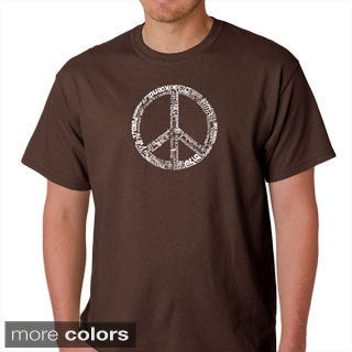 Los Angeles Pop Art Men's 77-language Peace Symbol T-Shirt