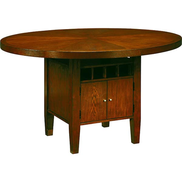 Shop Round Counter Height Dining Table With Wine Storage