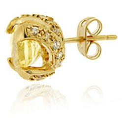 Glitzy Rocks 18k Gold over Sterling Silver Citrine and CZ Stud Earrings