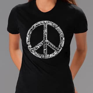 Los Angeles Pop Art Women's 77-language Peace Symbol Tee|https://ak1.ostkcdn.com/images/products/3416750/P11497533.jpg?impolicy=medium