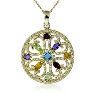 Glitzy Rocks 18k Gold over Sterling Silver Multi-gemstone Pendant