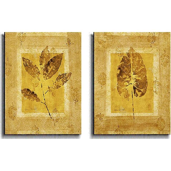 Lanie Loreth 'Golden Glow Leaf' Canvas Art (Set of 2)
