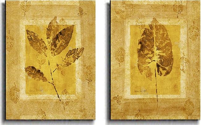 Lanie Loreth 'Golden Glow Leaf' Canvas Art (Set of 2) - Thumbnail 1