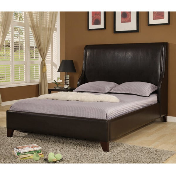 Synthetic Leather King-size Wingback Bed