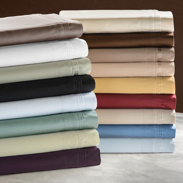 Superior Egyptian Cotton 650 Thread Count Olympic Queen Solid Deep Pocket Sheet Set