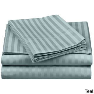 Superior 100-percent Premium Long-staple Combed Cotton 650 Thread Count Olympic Queen Striped Deep Pocket Sheet Set
