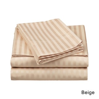 Superior Egyptian Cotton 650 Thread Count Olympic Queen Stripe Sheet Set (Option: Beige)