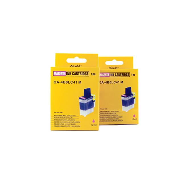 Magenta Ink Cartridge for Brother LC41M (Pack of 2) - Thumbnail 0
