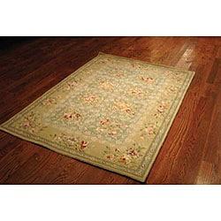 Safavieh Handmade Bouquet Tiles Green/ Sand Wool and Silk Rug (4' x 6')