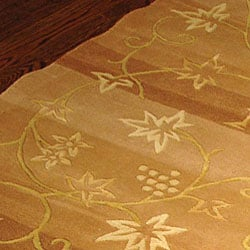 Safavieh Handmade Vine Stripe Beige Wool and Silk Rug (5' x 8') - Thumbnail 1