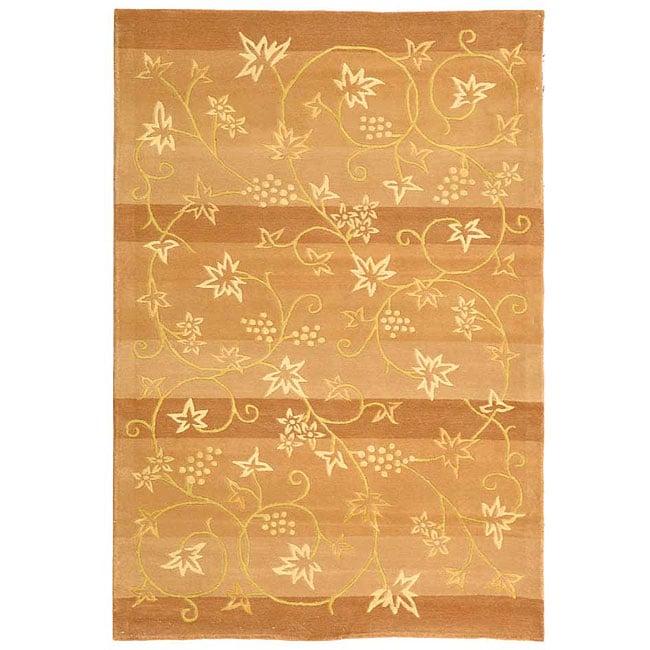 Safavieh Handmade Vine Stripe Beige Wool and Silk Rug - 8' x 10'