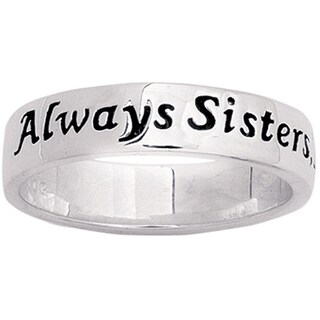 Sterling Silver 'Always Sisters, Forever Friends' Sentiment Ring