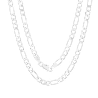 Italian Sterling Silver 4 mm Diamond-Cut Figaro Chain (18-30 Inch)