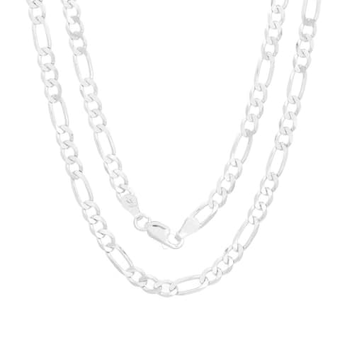 Sterling Silver Italian 4 mm Figaro Chain (18-30 Inch)