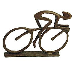Cyclist Cast Bronze Sculpture