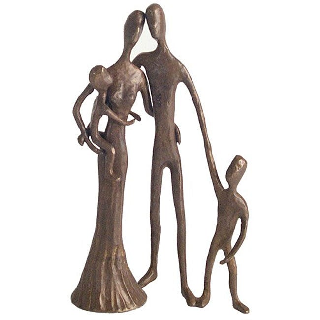 DANYA B. Family of Four Cast Bronze Sculpture, Tan