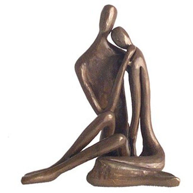 Cast Bronze Couple Embracing Sculpture
