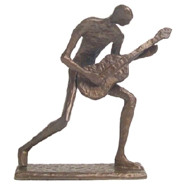 Cast Bronze Crouching Guitar Player Sculpture