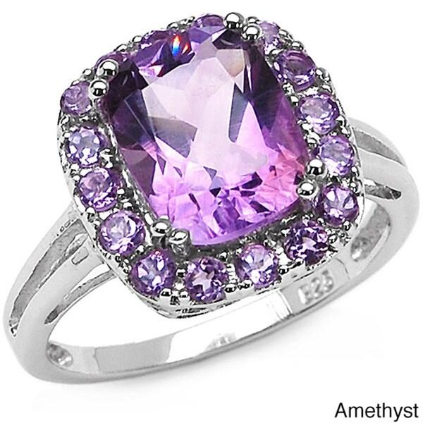 Malaika Sterling Silver Cushion-cut Gemstone Ring