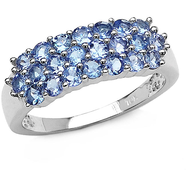 Malaika 10k White Gold Genuine Tanzanite 3-row Ring