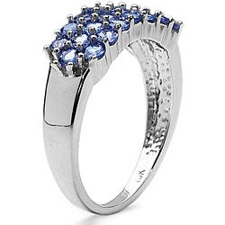 Malaika 10k White Gold Genuine Tanzanite 3-row Ring - Thumbnail 1
