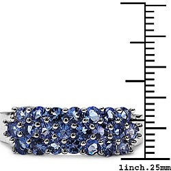 Malaika 10k White Gold Genuine Tanzanite 3-row Ring - Thumbnail 2