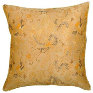 Chinese Dragons Silky Gold Cushion Cover