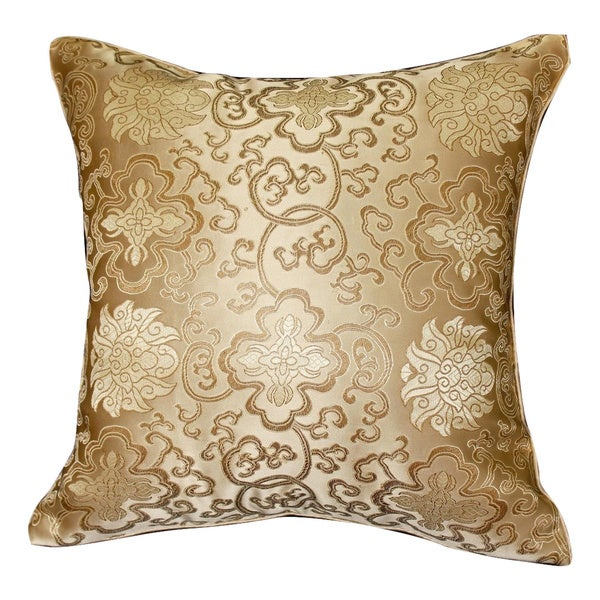 Handmade Chinese Lotus Flower Gold Cushion Cover