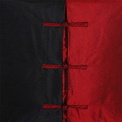 Chinese Ties Black/ Red Throw Pillow Cover - Thumbnail 1
