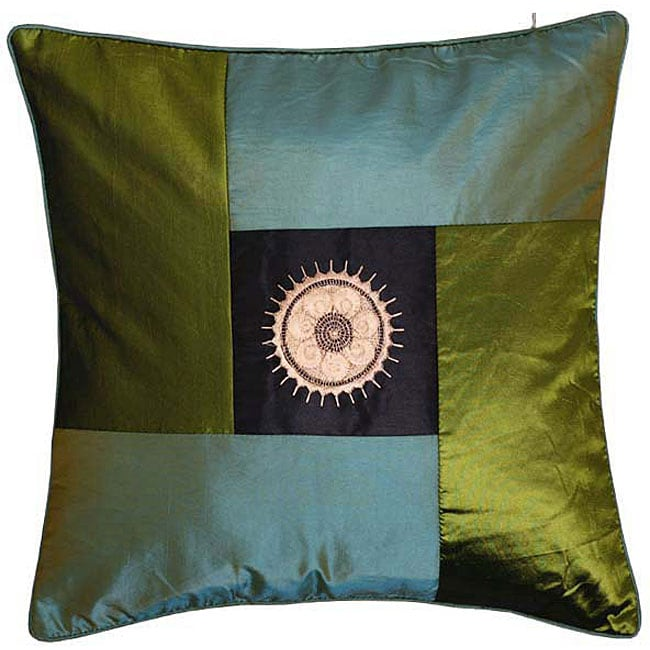Decorative Green and Blue Sunflower Cushion Cover