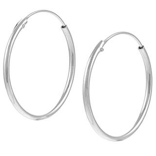 Journee Collection Sterling Silver 25mm Hoop Earrings
