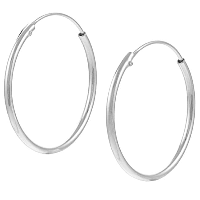Journee Collection  Sterling Silver 25 mm Hoop Earrings
