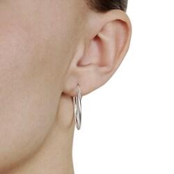 Journee Collection  Sterling Silver 25 mm Hoop Earrings - Thumbnail 2