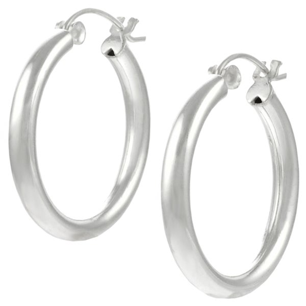 overstock earrings shop journee collection sterling silver hoop earrings 9403